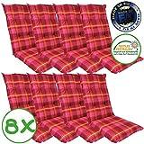 SunDeluxe Hochlehner Auflage für Gartenstühle 120x50x8cm - Premium Stuhlauflage mit Komfortschaumkern und Bezug 100% Baumwolle - Sitzauflage Made in EU / ÖkoTex100, Design:Karo Pink, Anzahl:8er Set