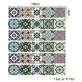 TNFUFPStickers für treppen, 6 Teile/Satz Arabisch Stil Talavera Treppenaufkleber DIY Baseboard Küche Bad wasserdichte Fliesen Dekor Kunst Aufkleber 18 * 100 cm