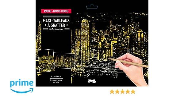 Mallalah Carte /à Gratter Dessin Cratch Art Papers Vue de Nuit 3PCS Night View Tableaux /à Gratter Bricolage Art Doodle pour Adultes et Enfants avec Stylet en Bois