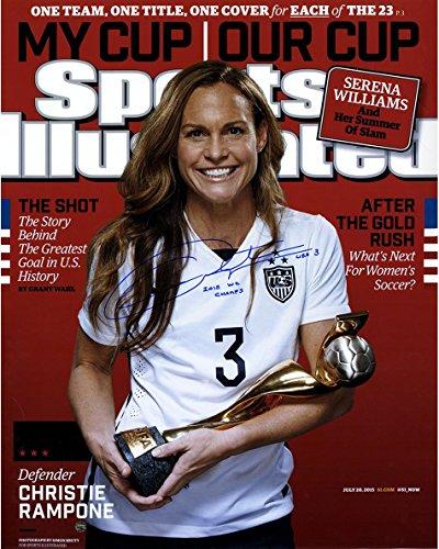 MLS USA Soccer Team Christie Rampone signiert 2015 World Cup Sports illustriertes Magazin 16 x 20 Foto