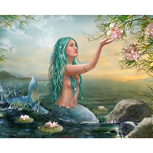 Pitaara Box PB Mermaid with Flowers Peel & Stick Vinyl Wall Sticker 19.9 x 16inch