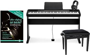 Casio CDP-130 BK Compact E-Piano Deluxe-SET schwarz mit Holzständer, Bank, Kopfhörer und Schule (88 Tasten, Anschlagsdynamik, Polyphonie: 48 Stimmen, USB-Port, Midi, Metronom, Netzteil)