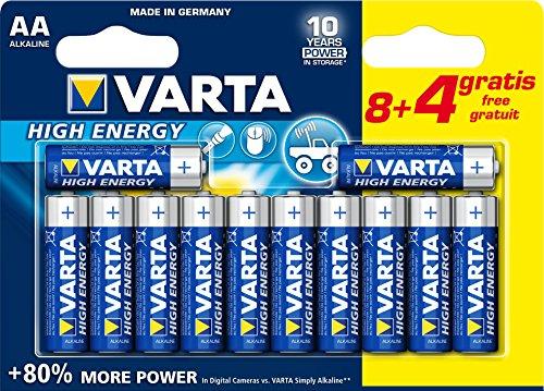 Galleria fotografica Varta High Energy Batteria Alcalina, AA Stilo, Confezione da 8+4 Pezzi