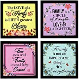 Indianara 4 Piece Set Of Framed Wall Hanging Family Quote Decor(1189) Art Prints 8.7 Inch X 8.7 Inch Without Glass