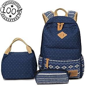 LLygezze Lightweight Canvas Backpacks Set Bookbag for Teens