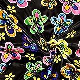 Fabulous Fabrics Satin Party Flowers 2 — Meterware ab 0,5m — zum Nähen von Karnevalsartikeln, Hemden und Röcken