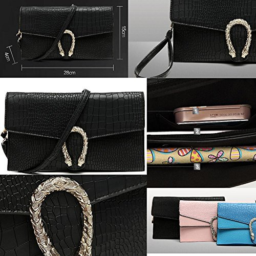 Frauen-Handtasche-Schulter-Abend-Handtaschen-Einkaufstasche Schwarz