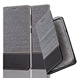 Cadorabo Hülle für HTC Desire 10 Lifestyle/Desire 825 - Hülle in GRAU SCHWARZ – Handyhülle mit Standfunktion und Kartenfach im Stoff Design - Case Cover Schutzhülle Etui Tasche Book