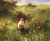 Kunstdruck/Poster: Ludwig Knaus A Young Girl in a Field - hochwertiger Druck, Bild, Kunstposter, 80x65 cm