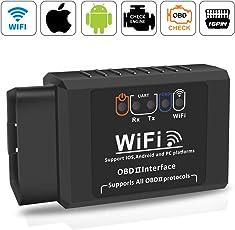 Wifi OBD2 Scanner Adapter,Qhui OBDII Diagnosegerät Elm327 W-lan Auto Diagnose Scanner Code Reader Check Engine für IOS Apple iPhone Android Windows ,3000 Code-Datenbank, geeignet für die meisten Autos und Trucks