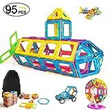 CONDIS Magnetische Bausteine Set 95 Teile, Magnetische Bauklötze, Konstruktion Blöcke, Magnetspielzeug, Kreatives und pädagogisches lernspielzeug für Kinder Geburtstagsgeschenk, Weihnachtsgeschen