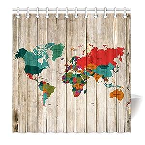 yisumei Hem pesos cortina cortina de ducha Mapa del Mundo Madera Pizarra Madera de Multicolor, poliéster, Weiß, 180(L) x 200(H) cm