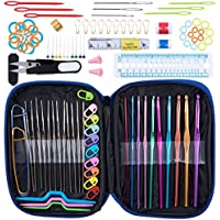 Norjews Crochet Hooks Set 100 PCS Premium Quality Knitting Tool Accessories with Portable Leather Case - Great Gift