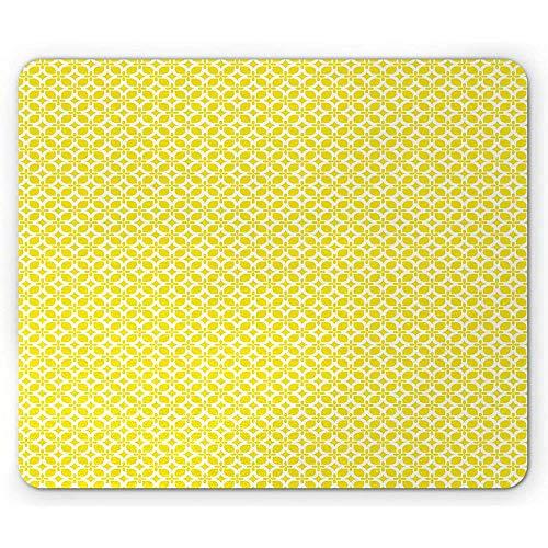 Gelbe Und Weiße Mausunterlage,Geometrische Verzierung Mit Blumenmotiven Simplistic Retro Mosaic Grid,Rutschfestes Rechteckiges Gummi-Mousepad -