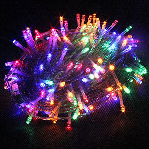 PMS 100/200/300/400/500 LEDs 4 Farben Wählen LED Lichterkette Weihnachten Kette Leuchte auf Transparent Kabel (Bunt, 500 LEDs)