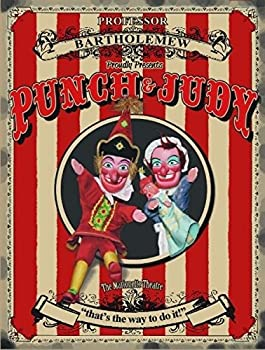 Punch & Judy. Marionette Theatre, Beach Tent, That's The Way To Do It. Old, Vintage, Retro, Day Out At The Beach, Entertainment Advert For Home, House, Shop, Kitchen, Bathroom Or Coffee Shop Cafe. Small Metalsteel Wall Sign 0