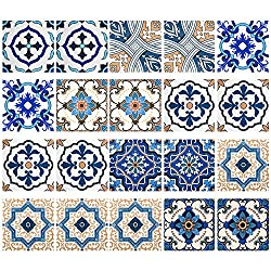 20Pcs Tile Stickers, Irich Blue Flower Pattern Self Adhesive Tile Transfers Stickers - DIY Creative Traditional Tile Decals for Kitchen & Bathroom Wall Tiles (6in*6in)