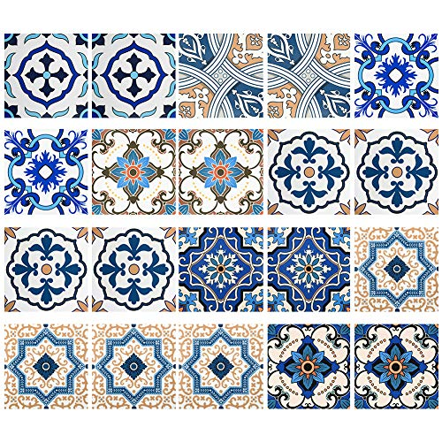 Irich 20Pcs Tile Stickers, Blue ...