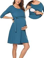 Romanstii Damen Umstandskleid Maternity Schwangerschafts- und Still-Kleid Mit 3/4 Ärmel Lagendesign Wickeln-Schicht