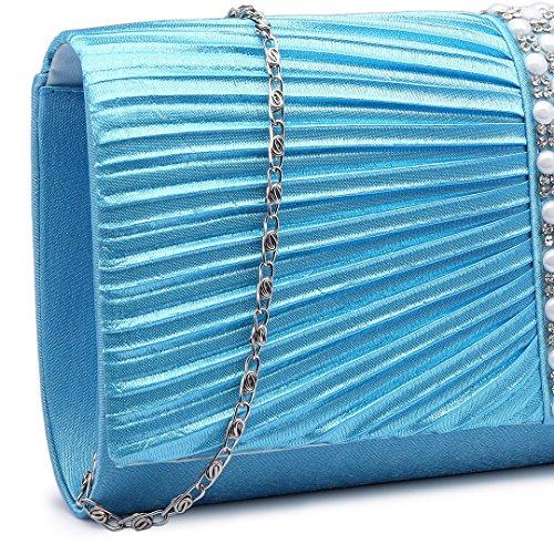 Miss LuLu Damen Tasche Mädchen Clutch Bag Strassstein Handtasche Hochzeit Abendtasche Kettentasche Umhängetasche glitzernd (LY6683-Hellblau) LY6683-Hellblau
