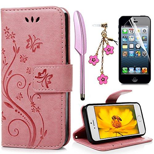 iPhone 5 5S SE Wallet Case iPhone 5 5S SE Flip Hülle YOKIRIN Schmetterling Blumen Muster Handyhülle Schutzhülle PU Leder Case Skin Brieftasche Ledertasche Tasche im Bookstyle in Rosa
