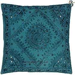 Indian Kantha algodón sofá cojín Set, hecho a mano espejo impresión parche decoración para el hogar sofá funda de almohada de Vintage estilo Aakriti galería, verde azulado, 41x41 cm