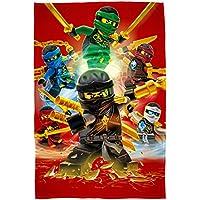 "Große Lego Ninjago Decke "" Motiv Fire "" 120 cm x 150 cm - Neu & Ovp - Fleecedecke - Kuscheldecke - Auto-Decke - Autokuscheldecke - Flauschdecke - Schmusedecke - Tagesdecke - Cole - Jay - Kai - Lloyd - Zane - Nya - Misako - Sensei Wu"