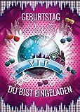 12 Einladungskarten zum Geburtstag VIP / Kindergeburtstag / Disco-Kugel / Pink/ Disco-Party / Einladungen zum Geburtstag für Mädchen (12 Karten)