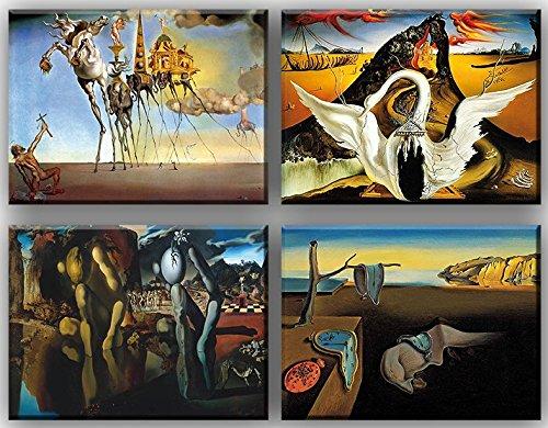 time4art Salvador Dali Print Canvas 4 Bild 4 x 40x30cm Leinwand auf Keilrahmen The Persistence of Memory Bacchanale Die Beständigkeit der Erinnerung -