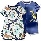 Bebé Niños Monos 2 Piezas - Verano Pijama de Algodón Mameluco de Manga Corta Animales Pelele para Recién nacido 9-12 Meses