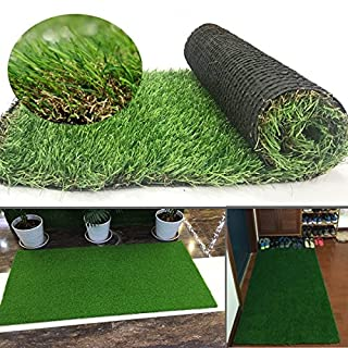 Artificial Grass Turf Lawn Area Rug 35mm Pile Height Pad Mat Garden Carpet Doormat Rubber Backed with Drainage Holes for Exterior Patio Lawn Outdoor Decoration (0.4M*0.8M)