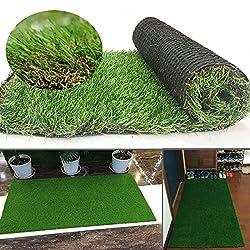 Synthetischer Kunstrasen Teppich für den Innen und Außenbereich, Florhöhe 35 mm, ideal als Teppich für Hunde, Garten und Fußmatte, gummierte Unterseite mit Drainagelöchern (0.4m(W)*0.8m(L))