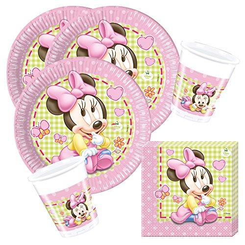 Unbekannt 36-teiliges Party-Set 1. Geburtstag Disney Baby Minnie - Teller Becher Servietten für 8 Kinder