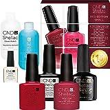 CND Shellac Starter Set Small Red Edition, Value Kit 15% Free (scrub 59/offly59/wildfire/tartan punk/base/xpress5/solar 7.3/20 wraps/2 files)