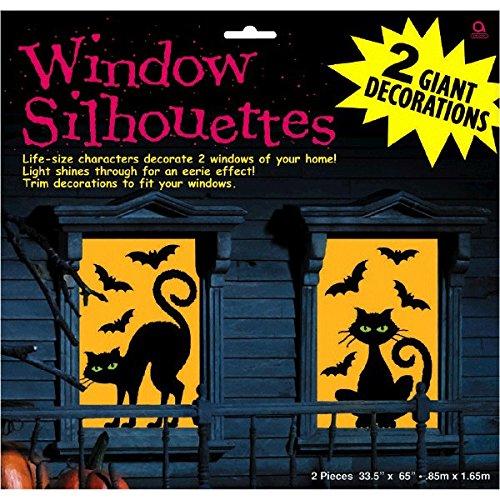 459020Dekoration Fenster silhette Katze und Fledermaus Party Set ()