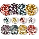 cartaffini–Set Damas Complet -12pièces: 4Assiettes Plates, 4Assiettes à Dessert, 4Bols (Ocre, pétrole, Aubergine et Ro