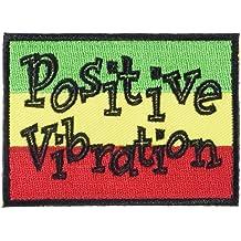 "REGGAE & RASTA Positive Positivo Vibration vibración PATCH PARCHE Iron-On / Sew-On Officially Licensed Artwork, 2"" x 3"" EMBROIDERED BORDADO Patch"