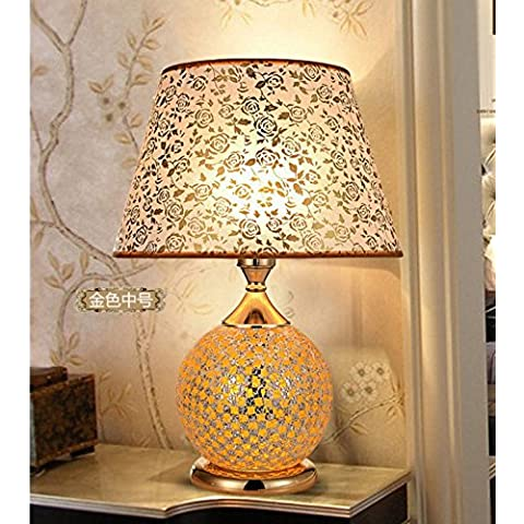 Lámparas LED regulable/dormitorio de estilo europeo en la mesilla de noche, lámparas de mesa retro