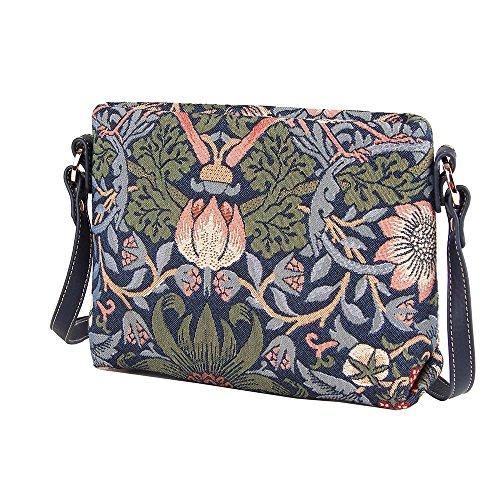 Borsetta donna Signare alla moda in tessuto stile arazzo a spalla borsa messenger a tracolla floreale Ladro di fragole blu