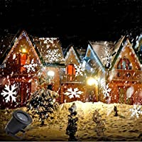 [Amazon UK Station Delivery] Projector Light Moving White Snowflakes Spotlight Lamp, Sparkling Landscape Projection LED Lights Waterproof Indoor Outdoor for Christmas Holiday Garden Home Wall Decoration