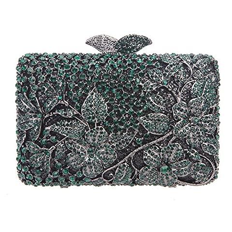 Bonjanvye Flower Kisslock Purses with Crystal Rhinestones Evening Clutch Bag Dark Green