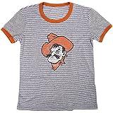 NCAA Oklahoma State Cowboys Women's Tri-Blend Retro Stripe Ringer Shirt, Medium, Orange