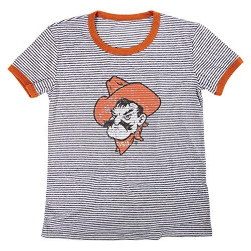 NCAA Oklahoma State Cowboys Damen Tri Blend Retro Streifen Ringer Shirt, Medium, Orange -