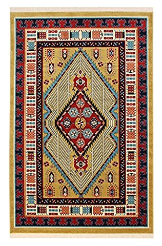 A2Z Rug Modern & Traditional Persian Design (Gold - 80x300 cm - 2'6x9'8'' ft) Runner Area Rugs Pazirik Collection - Contemporary Living & Dinning & Bedroom Soft