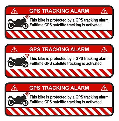 Finest-Folia 3X GPS Aufkleber Fahrrad Motorrad Auto Alarm Warnung Anti Diebstahl Sticker Tracker gesichert (Weiß, Motorrad)