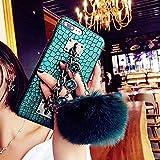 Babemall Luxe Bling Vintage Crocodile Imprimé Coque arrière pour iPhone 78Plus X PU Cuir Chaîne en métal avec Sangle résistant aux Chocs Coque Souple. iPhone XR 6.1' Crystal Chain Ball/Green
