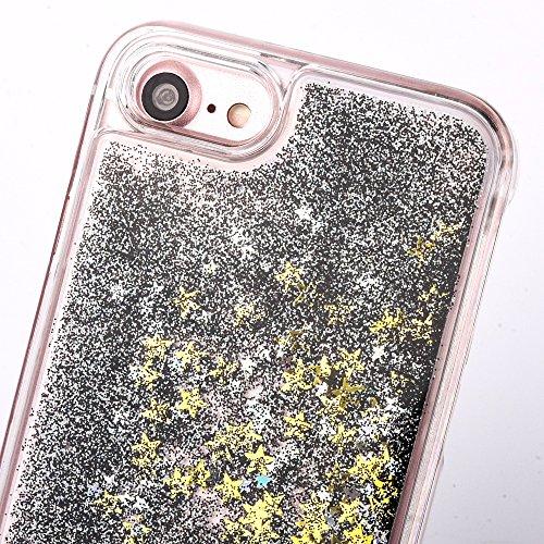 iPhone 7 Silikon Hülle,iPhone 7 Glitzer Hülle,iPhone 7 Transparent Hülle,iPhone 7 Crystal Clear TPU Case Hülle Klare Cristall Silikon Gel Schutzhülle Etui für iPhone 7 4.7 Zoll,EMAXELERS iPhone 7 (4.7 B Star Liquid 4