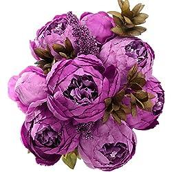 StarLifey Unechte Blumen Haarzopf Künstliche Pfingstrose Seidenblumen Bouquet Startseite Hochzeit Dekoration Blume Hochzeit Violett