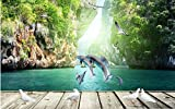 Weaeo 3D Wallpaper Benutzerdefinierte Mural Vlies 3D Raum Tapete Delfine Schwimmen Bord 3D Einstellung Wall Fototapete Für Wände 3D-200X140Cm