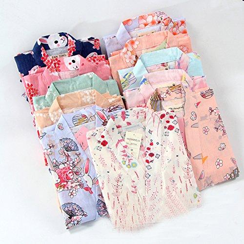 Frauen im japanischen Stil lange Ärmel Roben Baumwolle Kimono Pyjamas Anzug Morgenmantel Set Rosa